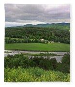 Farmland View Over The Connecticut River  Fleece Blanket