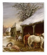 Farmyard In Winter  Fleece Blanket