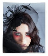 Fascinating Makeup Woman In High Fashion Hat  Fleece Blanket