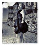 Fashionable Woman And Mansion Fleece Blanket