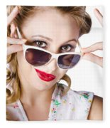 Fashionable Woman In Sun Shades Fleece Blanket