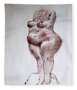 Fat Nude Woman  Fleece Blanket