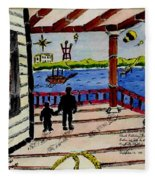 Father And Son On The Porch Fleece Blanket