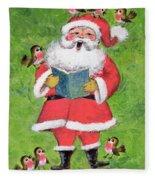 Father Christmas And Robin Chorus Fleece Blanket