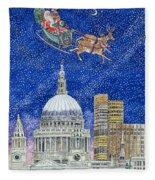 Father Christmas Flying Over London Fleece Blanket
