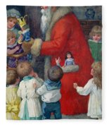 Father Christmas With Children Fleece Blanket