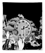 Father Time In Black And White Fleece Blanket