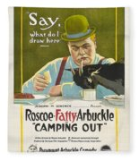 Fatty Arbuckle In Camping Out 1919 Fleece Blanket