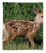 Fawn In The Open Fleece Blanket