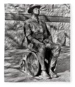 Fdr Memorial Sculpture In Wheelchair Fleece Blanket