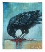Feasting Raven Fleece Blanket