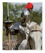 Knight With Lance Fleece Blanket