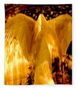 Feathers Of Light - Gold Fleece Blanket