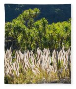 Feathery White Plants Fleece Blanket