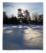 February Pine Tree Shadows Fleece Blanket