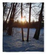 February Sunrise Alongside A Tree Fleece Blanket