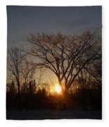 February Sunrise Behind Elm Tree Fleece Blanket