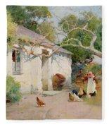 Feeding The Hens Fleece Blanket