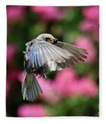 Female Bluebird In Flight Fleece Blanket