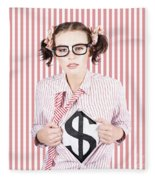 Female Business Superhero Showing Dollar Sign Fleece Blanket