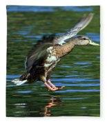 Female Duck Landing Fleece Blanket