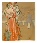 Female Figure In Red Fleece Blanket