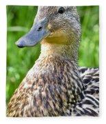 Female Mallard Duck Close Up Fleece Blanket