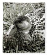 Female Mallard Duck Resting 2 Fleece Blanket