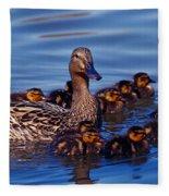Female Mallard Duck With Chicks Fleece Blanket