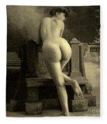 Female Nude, Circa 1900 Fleece Blanket