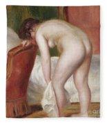 Female Nude Drying Herself Fleece Blanket