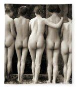 Female Nude Quintet Fleece Blanket