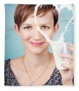 Female Nutritionist Showing Full Cream Milk Love Fleece Blanket