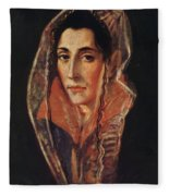 Female Portrait Fleece Blanket