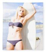 Female Surfer In Sun With Surf Board Fleece Blanket