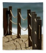 Fence Along The Beach Fleece Blanket