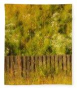 Fence And Hillside Of Wildflowers On Suomenlinna Island In Finland Fleece Blanket