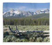 Fence And The Sawtooths Fleece Blanket