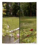 Fence Full Of Roses - Cross Your Eyes And Focus On The Middle Image Fleece Blanket