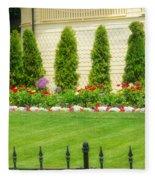 Fence Lined Garden Fleece Blanket