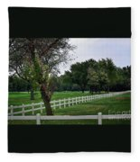 Fence On The Wooded Green Fleece Blanket