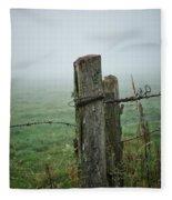 Fence Post And Fog Fleece Blanket