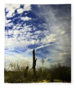 Fence Post And New Mexico Sky Fleece Blanket