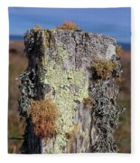 Fence Post Encrusted With Lichen  Fleece Blanket