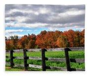 Fences, Fields And Foliage Fleece Blanket