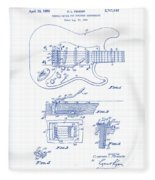 Fender Guitar Patent Drawing Fleece Blanket