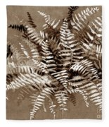 Fern In Sepia Fleece Blanket