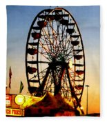 Ferris Wheel At Night Fleece Blanket