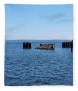 Ferry Approaches Kingston Dock Fleece Blanket