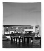 Ferry Building And Pinnacle Building - San Francisco Embarcadero - Black And White Fleece Blanket